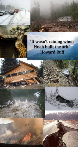 "Emergency Preparedness poster with quote ""It wasn't raining when Noah built the ark."""