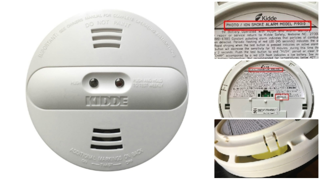 Front and back of Kidde smoke alarm with side view showing yellow cap